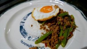 Thai food pad krapao