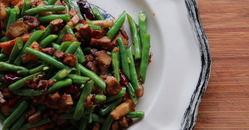 Roast pork stir fry with green beans